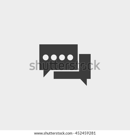 Speech bubbles icon in a flat design in black color. Vector illustration eps10 - stock vector