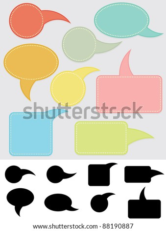speech bubbles in color and black silhouette