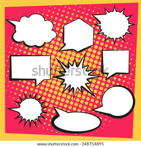 speech bubbles in comic style. pop up comic book vector set with halftone background - stock vector