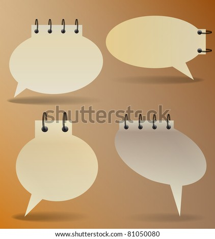 Speech bubbles in old paper style - stock vector