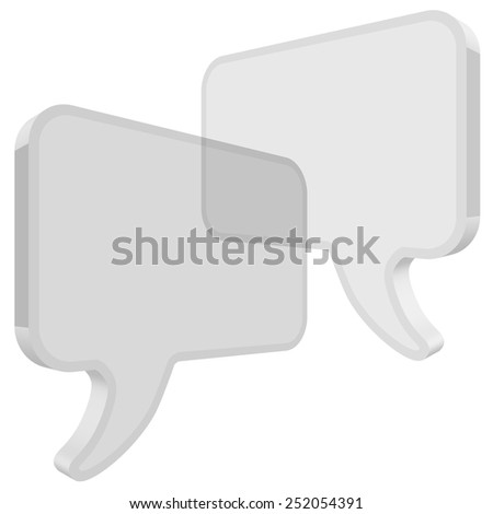 speech bubbles in perspective white transparent - stock vector