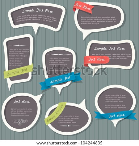 Speech bubbles in vintage style. Vector set - stock vector