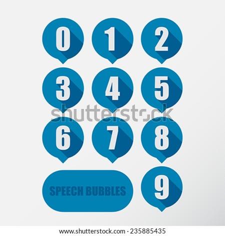 Speech bubbles number set. Flat design. Vector Illustration.  - stock vector