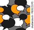 speech bubbles orange, black, white seamless pattern - stock vector