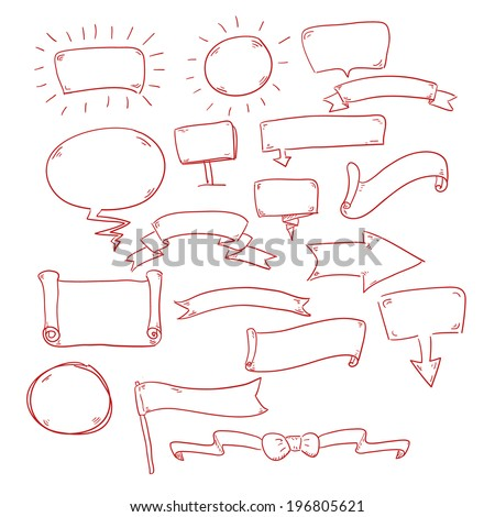 Speech bubbles ribbons and some other useful things. Vector eps10 - stock vector