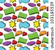Speech bubbles seamless colorful pattern. Hand drawing sketch vector background - stock