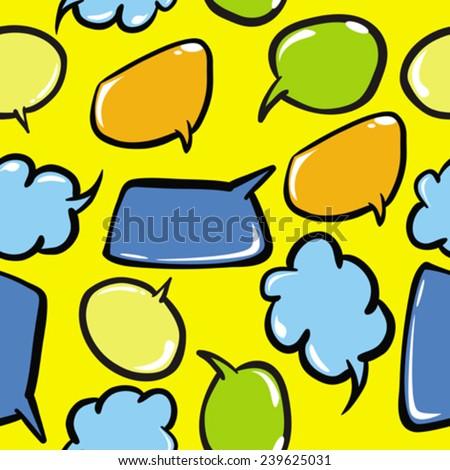 speech bubbles seamless pattern cartoon illustration - stock vector