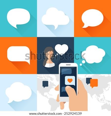 Speech bubbles set and smartphone with love message in flat design. Vector illustration - stock vector