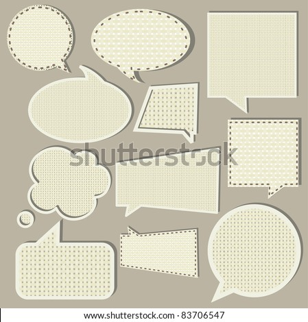 speech bubbles set, fabric texture - stock vector