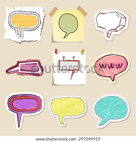 Speech bubbles set. Hand drawn and isolated. Stickers - stock vector