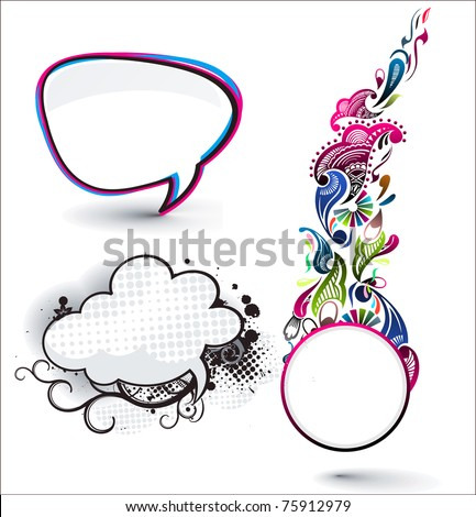 speech bubbles set with floral circle banner design. - stock vector