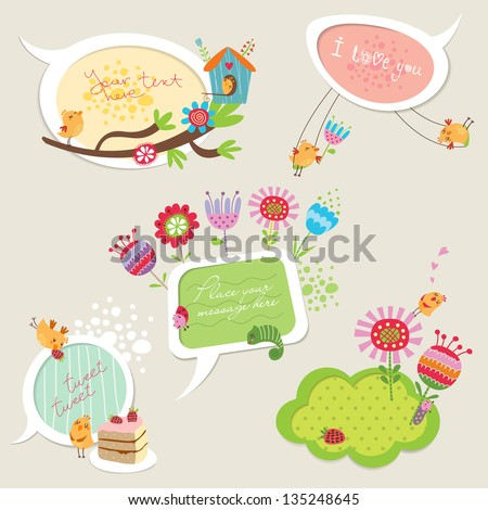 Speech bubbles set with funny birds and flowers - stock vector