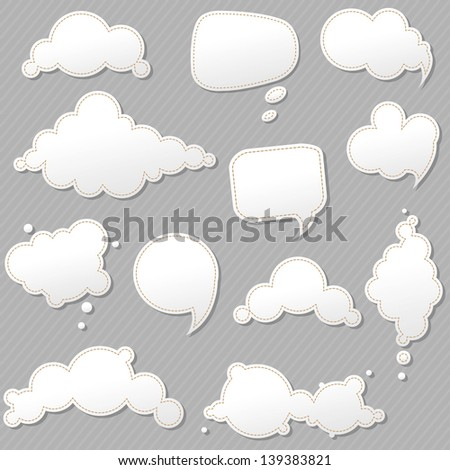 Speech Bubbles Set With Grey Background, Vector Illustration - stock vector