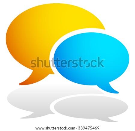 Speech bubbles, talk bubbles. Transparent shadow. - stock vector