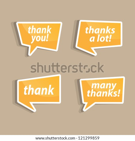 Speech bubbles to talk about thank A vector illustration. - stock vector