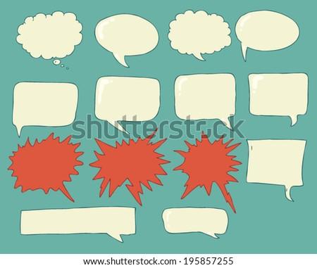 Speech bubbles (voice bubble) set, vector illustration, hand drawing - stock vector