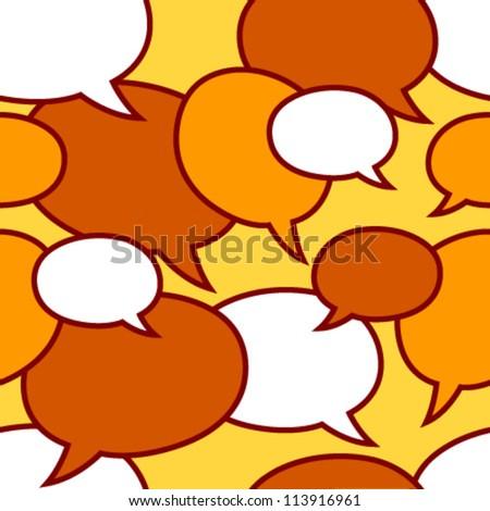 speech bubbles white, orange on yellow - stock vector