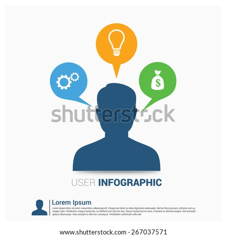 speech bubbles with business user icons. setting icon, idea icon bank icon. social media communication, internet or web chat, social networking & interaction, online community, infographics template - stock vector