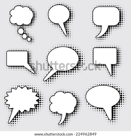 speech bubbles with dotted halftone shadow - stock vector