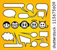 Speech bubbles with funny characters. - stock
