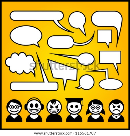 Speech bubbles with funny characters. - stock vector