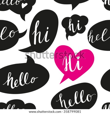 Speech bubbles with Hello word seamless pattern.  - stock vector