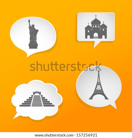 Speech bubbles with landmarks signs - stock vector