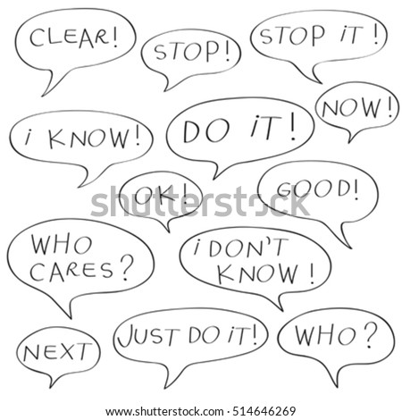 Speech bubbles with original childish text, doodles isolated on white