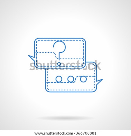 Speech bubbles with question and answer. Information exchange, on line support. Blue flat line vector icon. Single web design element for mobile app or website. - stock vector