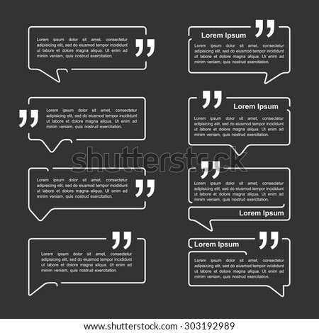 Speech bubbles with quotes, vector eps10 illustration - stock vector