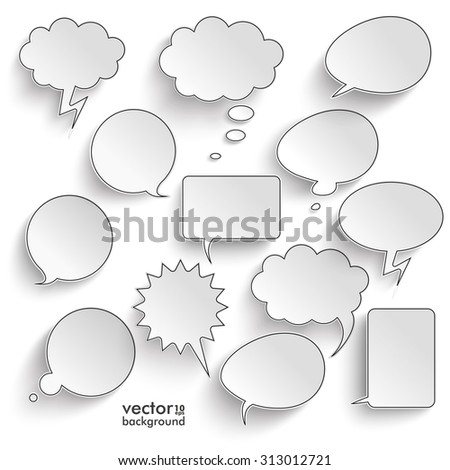Speech bubbles with shadows set on the gray background. Eps 10 vector file. - stock vector
