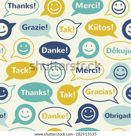"""Speech bubbles with smiles and """"thank you"""" in different languages: english, french, german, italian, spanish, norwegian, danish, finnish, brazilian, czech. Seamless vector pattern. Flat design. - stock vector"""