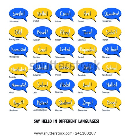 Speech bubbles with word Hello in different languages.  - stock vector