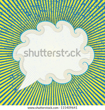Speech cloud template with the sun rays