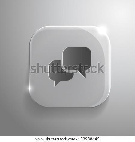 Speech icon - vector gray glass app button with shadow. eps10 - stock vector