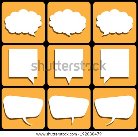 speech of color box sign web icon shape. vector / illustrations