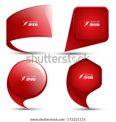 Speech red bubble set, stickers, labels, tags, Vector template design - stock vector