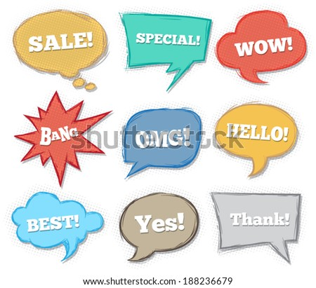 Speech text comic drawing style. Can use for business promotion, sticker. - stock vector