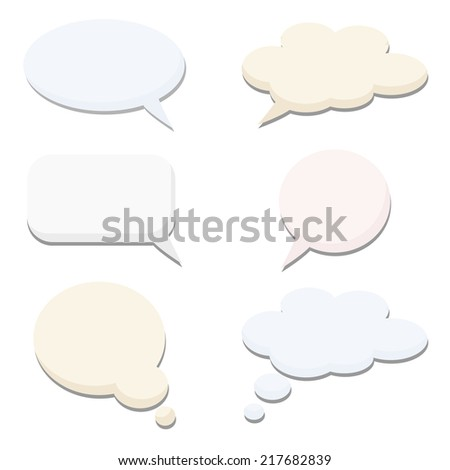 Speech thought bubble set, vector illustrations - stock vector
