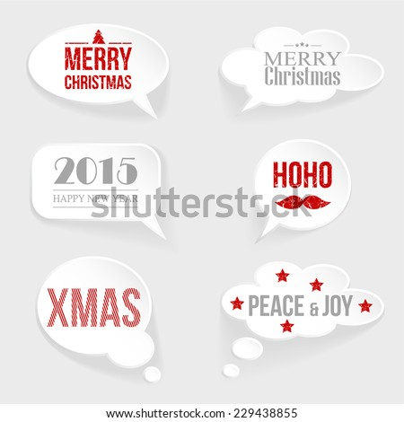 Speech thought bubble set with christmas and new year messages, vector illustration objects - stock vector