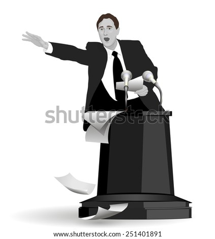 Speech with strong gestures. A man dressed in a suit. Lecturer, teacher, manager, boss. Image. Vector. Icon. - stock vector