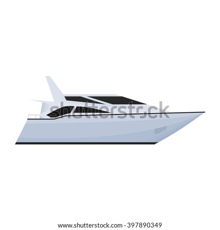 Speed boat or a power boat. Sea or river ship, flat icon. Sea and river vehicles. Isolated on white background. - stock vector