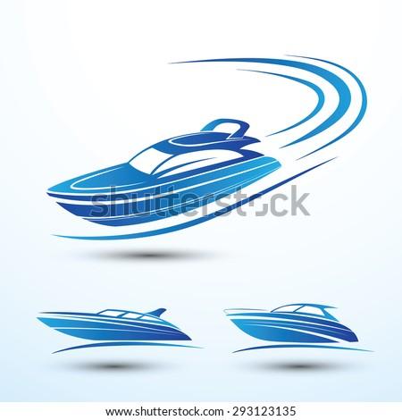 Speed boat symbol set vector.illustration - stock vector