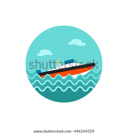 Speed boat vector icon. Travel. Summer. Summertime. Holiday. Vacation, eps 10 - stock vector