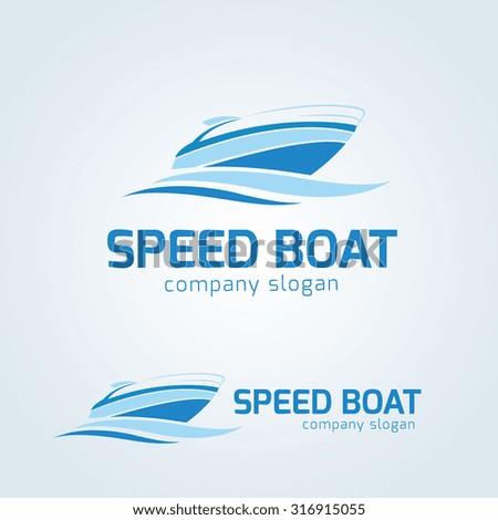 Speed boat Vector logo template - stock vector