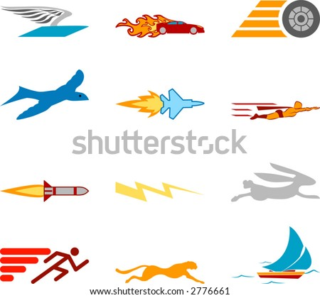 Speed Icon Set Series Design Elements A conceptual icon set relating to speed, being fast, and or efficient. - stock vector