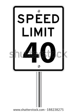 Speed limit 40 traffic sign on white - stock vector