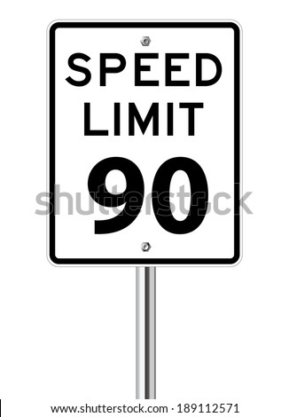 Speed limit 90 traffic sign on white - stock vector