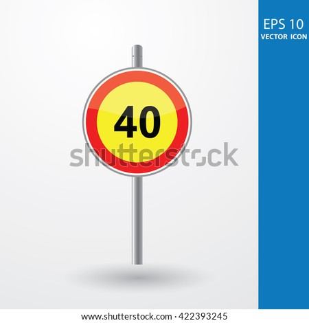 Speed Limits 40 kilometers per hour - stock vector