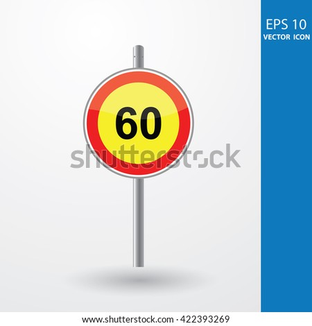 Speed Limits 60 kilometers per hour - stock vector